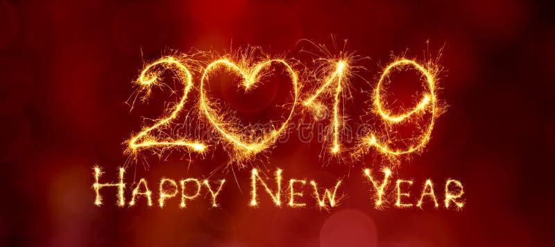 Feliz Año Nuevo hermosa panorámica 2019 de la tarjeta de felicitación stock de ilustración