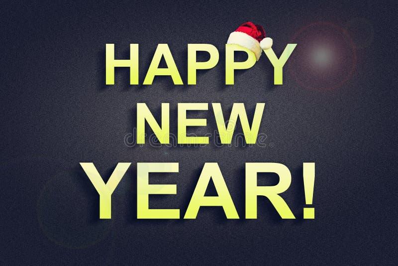 Feliz Año Nuevo Inscripción brillante en un fondo oscuro La Navidad, Año Nuevo holiday foto de archivo