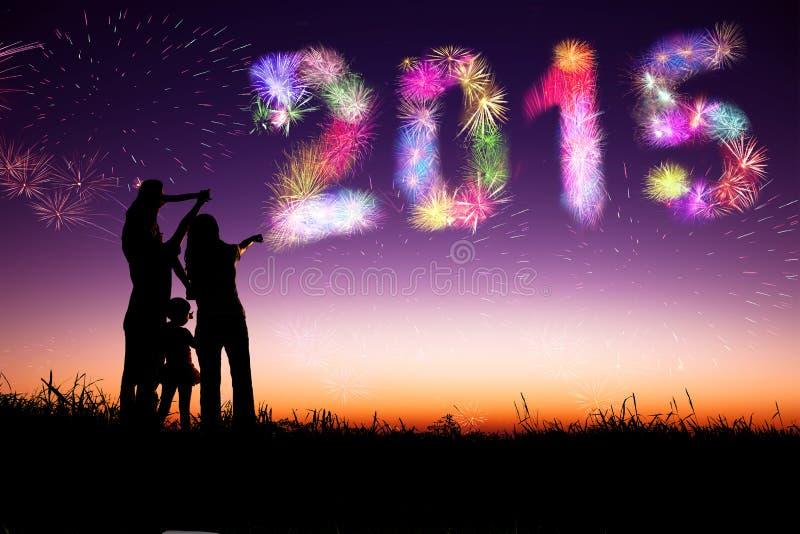 Feliz Año Nuevo 2015 la familia que mira los fuegos artificiales y celebra imagen de archivo libre de regalías