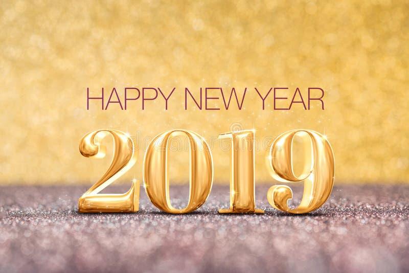 Feliz Año Nuevo 2019 la representación del número 3d del año en chispear va imágenes de archivo libres de regalías