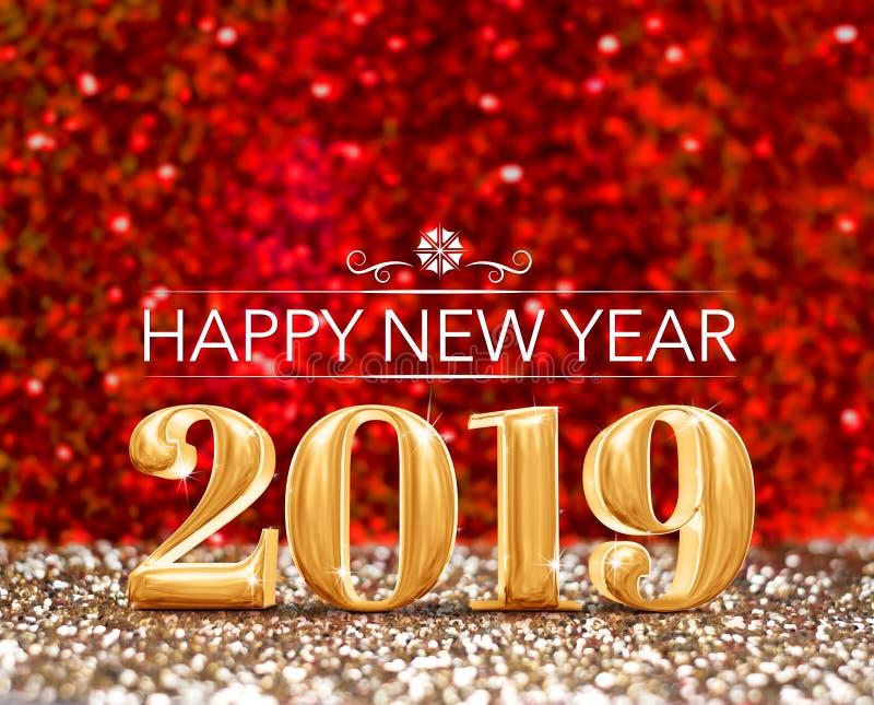 Feliz Año Nuevo 2019 la representación del número 3d del año en chispear va stock de ilustración