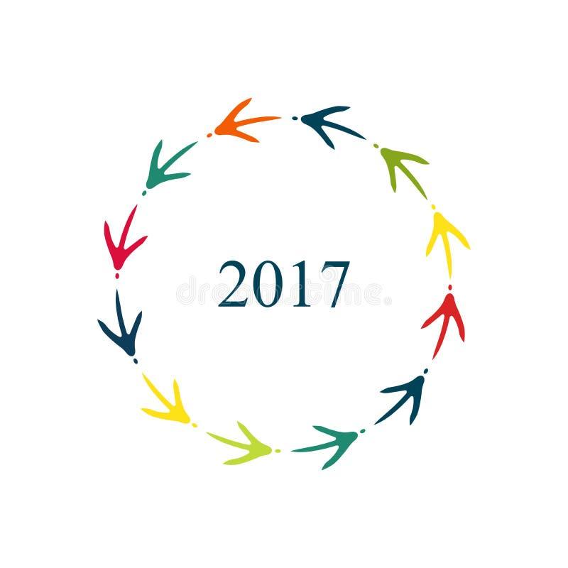 Feliz Año Nuevo 2017 Marco coloreado de las huellas del pollo ilustración del vector