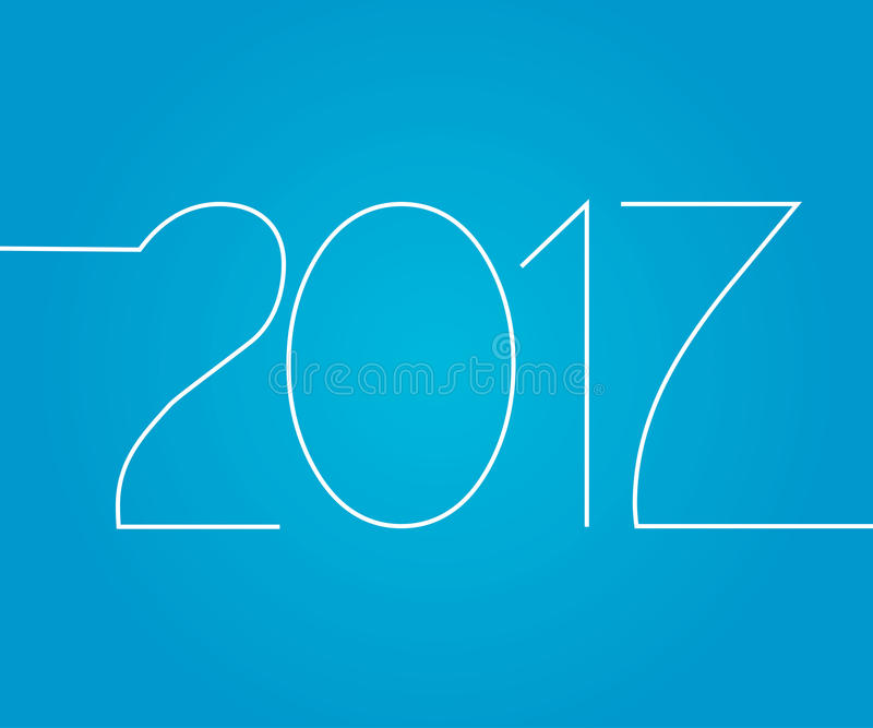 Feliz Año Nuevo, número 2017 aislado en el fondo azul, greetin stock de ilustración