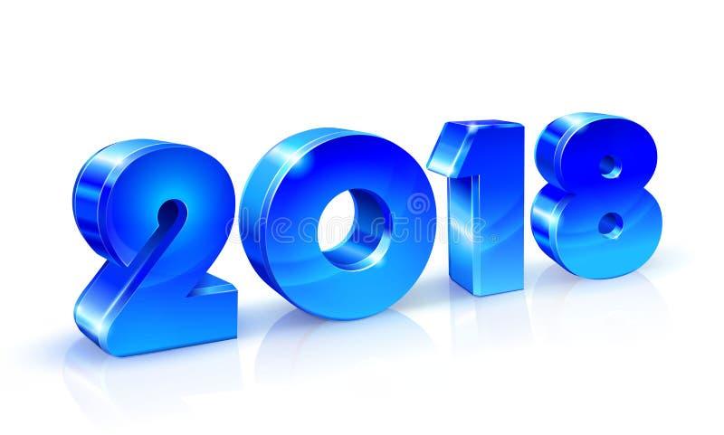 Feliz Año Nuevo 2018 Números brillantes azules con la reflexión en un fondo blanco stock de ilustración