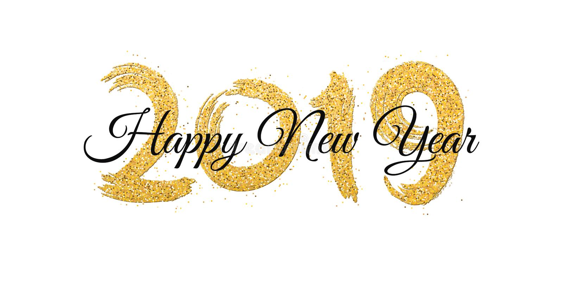 Feliz Año Nuevo 2019 Números de brillos de oro con el texto negro en un fondo blanco Arena del oro, brillos Cepillo en estilo del libre illustration