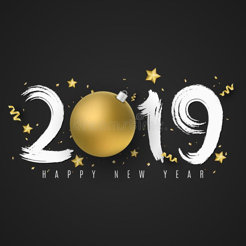Feliz Año Nuevo 2019 Números de cepillo en estilo del grunge Fondo oscuro Bola de oro de la Navidad Estrellas, confeti y serpenti stock de ilustración