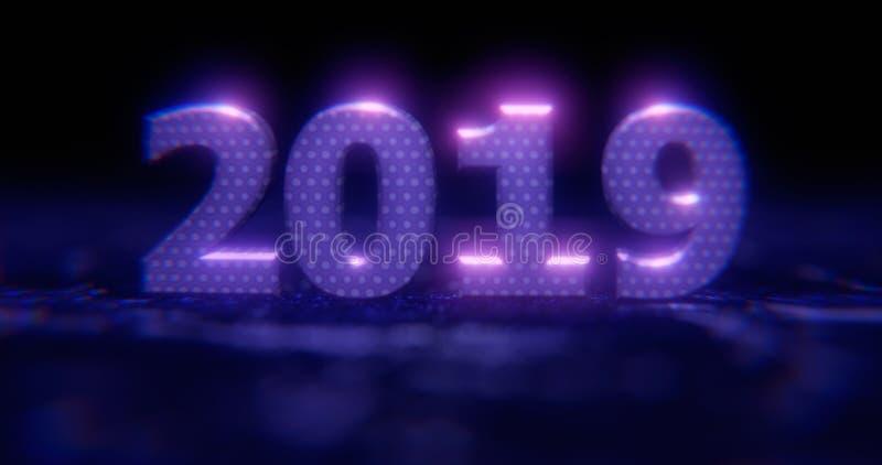 Feliz Año Nuevo 2019 Números de neón azules 2019 del ejemplo del día de fiesta en un fondo en mitad-flores grises con efectos lum ilustración del vector