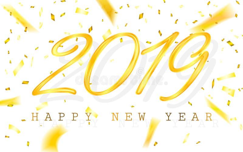Feliz Año Nuevo 2019 Números de oro con las cintas y el confeti en un fondo blanco Ilustración del vector ilustración del vector