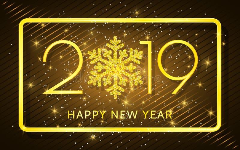 Feliz Año Nuevo 2019 Números de oro y confeti en un fondo oscuro Ilustración del vector ilustración del vector