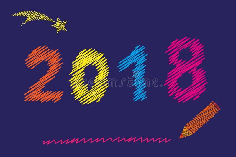 Feliz Año Nuevo 2018 Números hechos punto coloreados multi de la Navidad Números del bordado Vector ilustración del vector