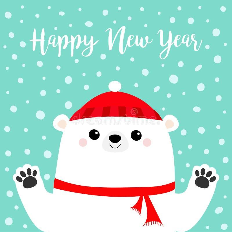 Feliz Año Nuevo Oso polar blanco que celebra la impresión de la pata de las manos Bufanda roja del invierno, sombrero Carácter di ilustración del vector