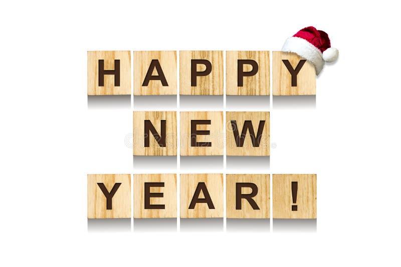 Feliz Año Nuevo Palabras compuestas de alfabeto en los cubos de madera Fondo blanco Aislado La Navidad, fondo del Año Nuevo libre illustration