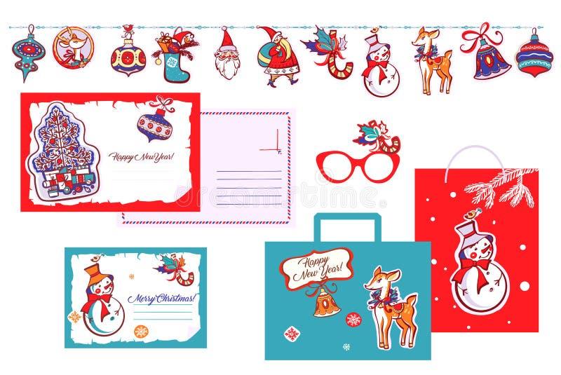Feliz Año Nuevo Papá Noel, campana, copo de nieve, ciervo en la guirnalda T libre illustration