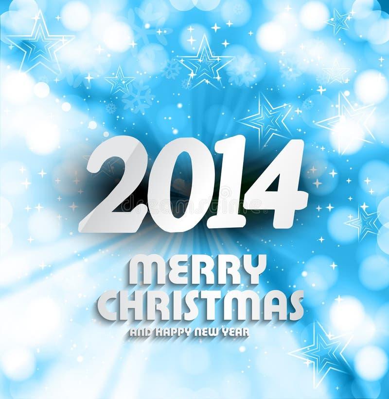 Feliz Año Nuevo 2014 para la Feliz Navidad hermosa  ilustración del vector
