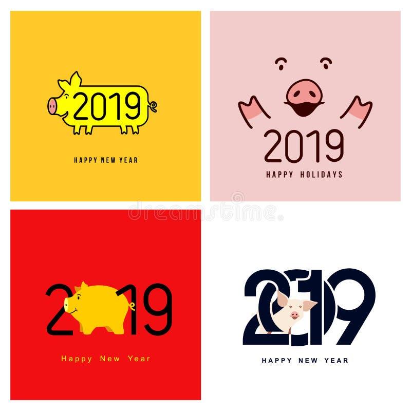 Feliz Año Nuevo Sistema del cerdo divertido lindo Símbolo chino de los 2019 años Carte cadeaux festivo excelente para su diseño V stock de ilustración