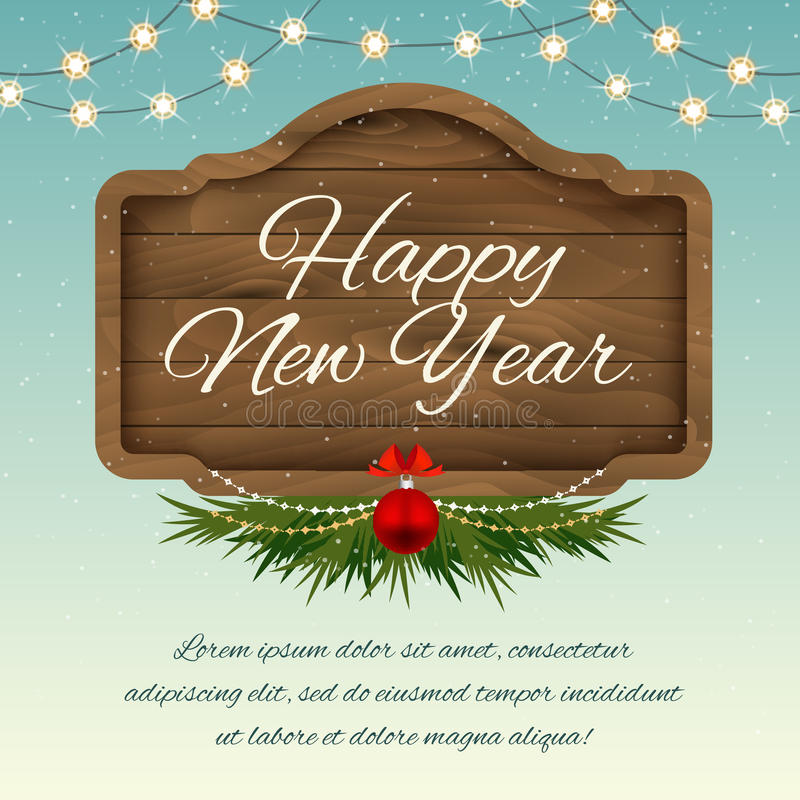 Feliz Año Nuevo Tablero de madera de la muestra con las decoraciones Holid del vector stock de ilustración