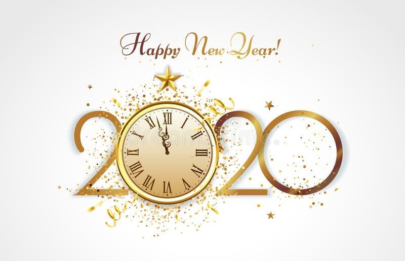 Feliz año nuevo, tarjeta de bienvenida Cuenta regresiva de Golden 2020, reloj de fiesta de Navidad y felicitación de lujo dorada  libre illustration