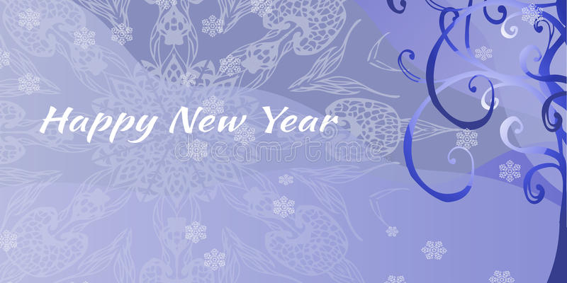 Feliz Año Nuevo Tarjeta de felicitación con el árbol de navidad y lugar para stock de ilustración