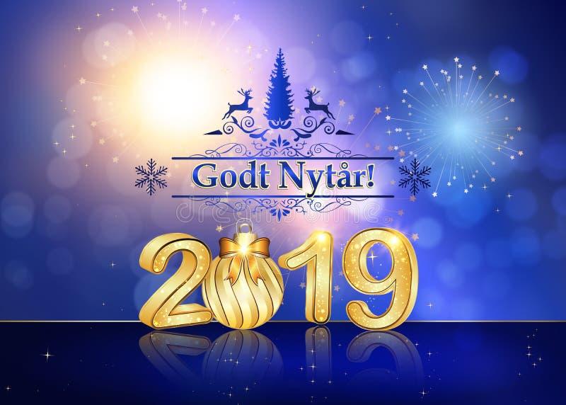 Feliz Año Nuevo 2019 - tarjeta de felicitación con el texto en danés stock de ilustración