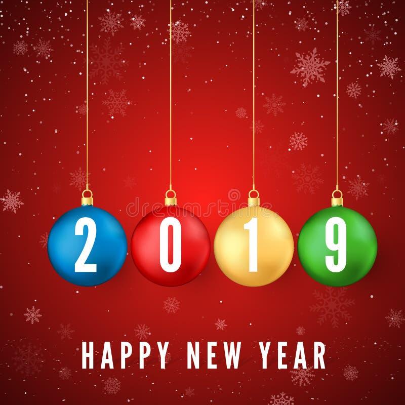 Feliz Año Nuevo 2019 Tarjeta de felicitación con las bolas coloridas de la Navidad y números blancos 2019 en ellas Copos de nieve stock de ilustración