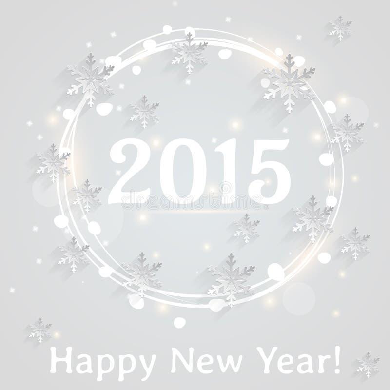 ¡Feliz Año Nuevo! Tarjeta de felicitación del vector con los copos de nieve planos libre illustration