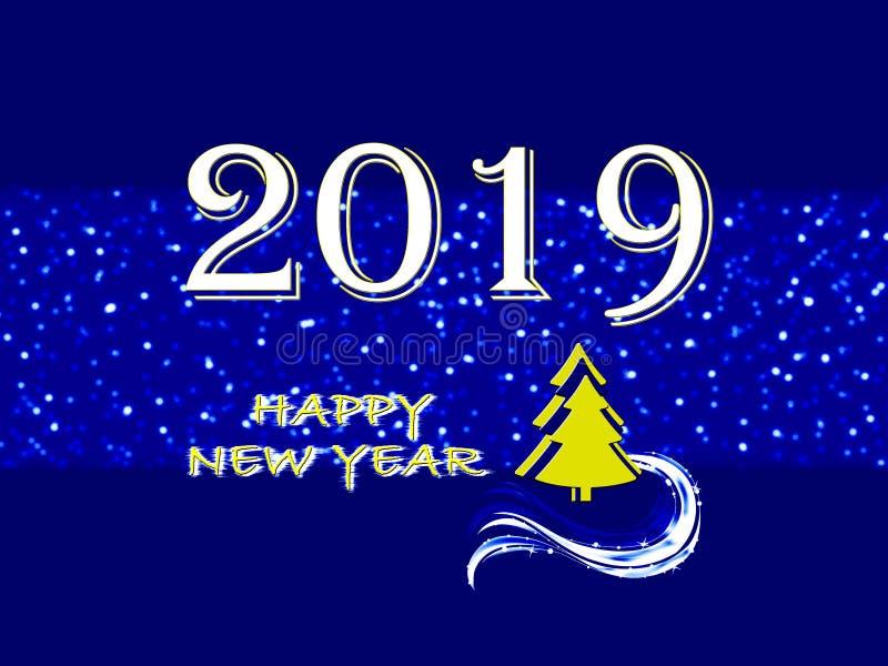 Feliz Año Nuevo 2019, tarjeta de felicitación en fondo azul ilustración del vector
