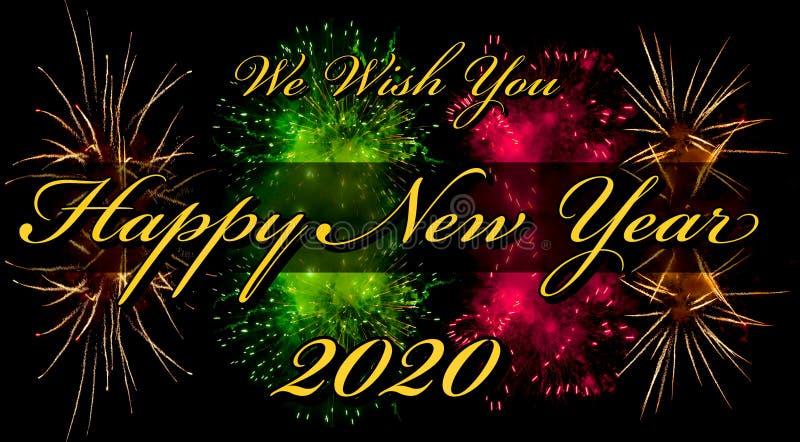 Feliz Año Nuevo 2020 tarjeta de felicitación o plantilla con texto y fuegos artificiales en segundo plano imagen de archivo libre de regalías