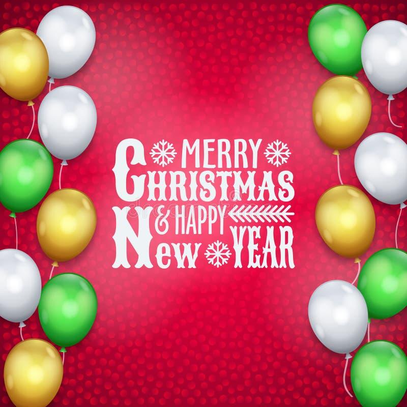 Feliz Año Nuevo, tarjeta de Navidad, balones de aire, texto ilustración del vector