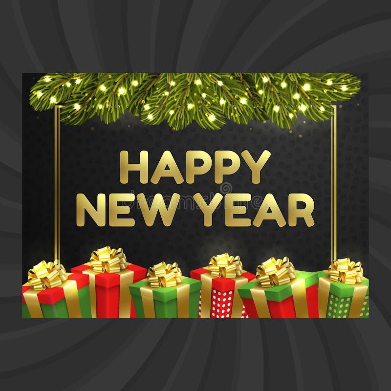Feliz Año Nuevo, tarjeta de Navidad, caja de regalo, guirnalda ilustración del vector