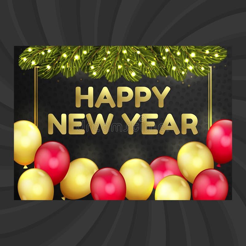 Feliz Año Nuevo, tarjeta de Navidad, globos, guirnalda libre illustration