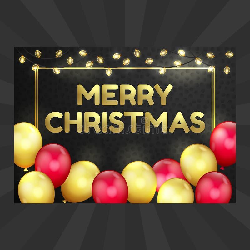 Feliz Año Nuevo, tarjeta de Navidad, globos, guirnalda stock de ilustración