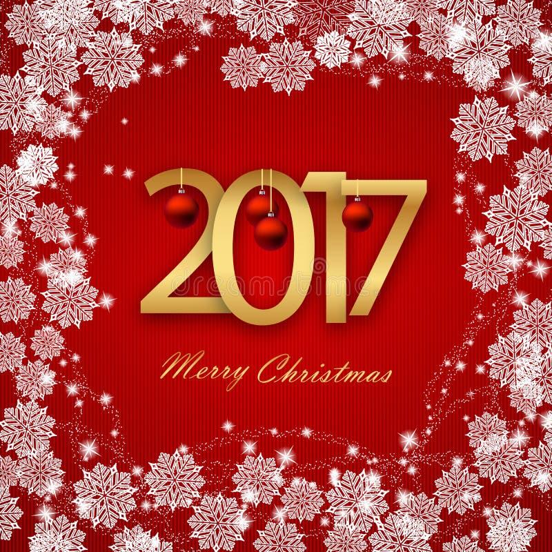 Feliz Año Nuevo 2017 Tarjeta de Navidad, texto blanco en fondo rojo Imagen del vector ilustración del vector