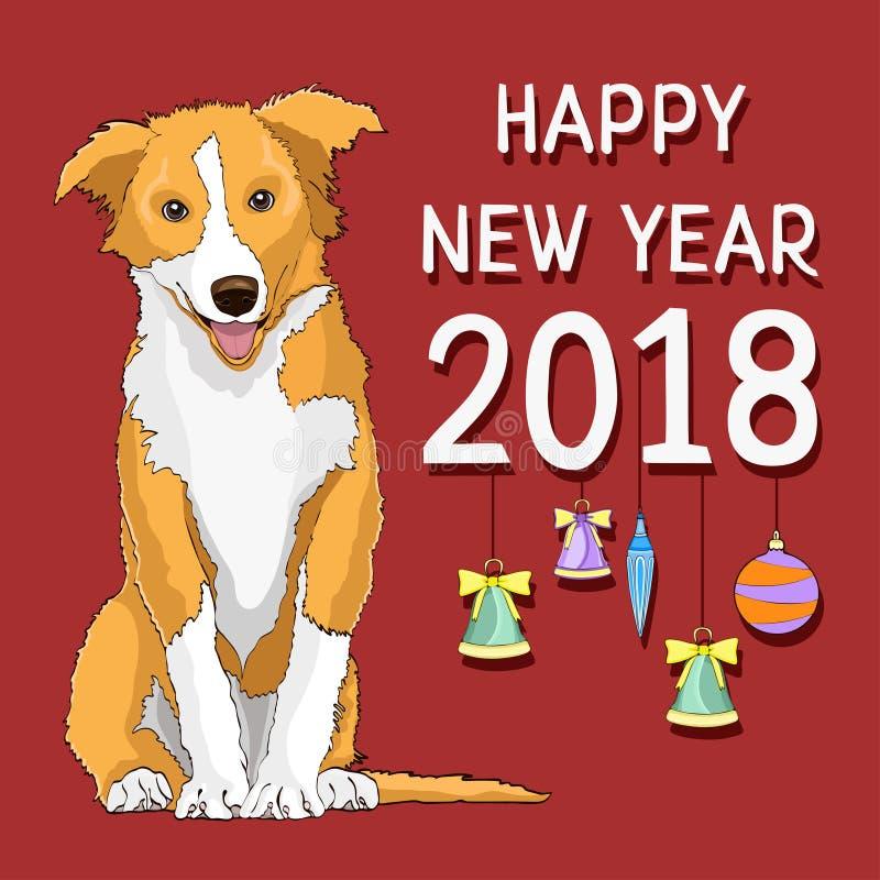 Feliz Año Nuevo, tarjeta del Año Nuevo con un símbolo exhausto del perro amarillo del año 2018 ilustración del vector