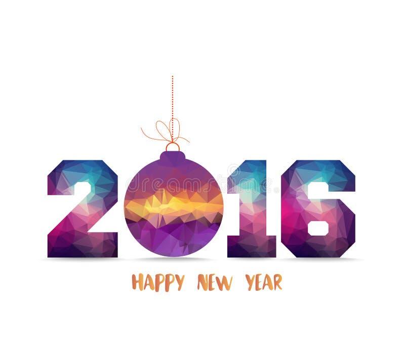 Feliz Año Nuevo 2016 tarjeta geométrica con la bola de la Navidad libre illustration