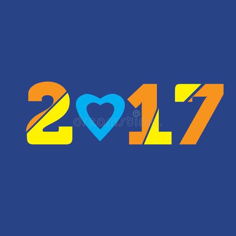 Feliz Año Nuevo Texto con el corazón fotos de archivo