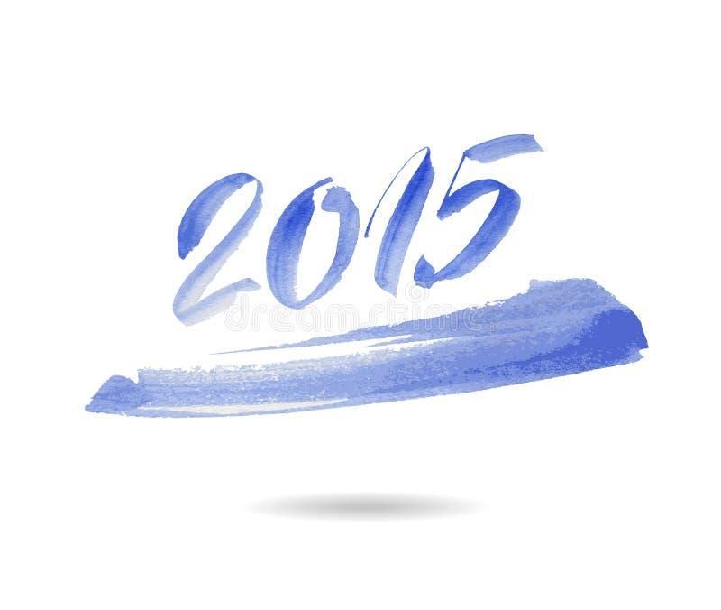 Feliz Año Nuevo 2015 Vector de la acuarela stock de ilustración