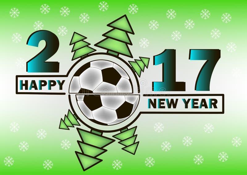 Feliz Año Nuevo y balón de fútbol ilustración del vector
