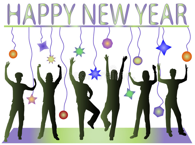 Feliz Año Nuevo y gente feliz libre illustration