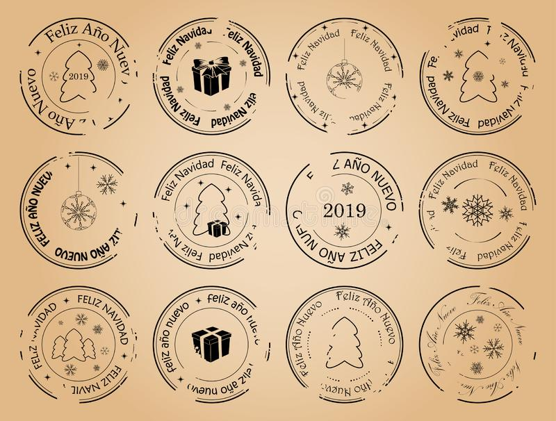 Feliz Año Nuevo y Feliz Navidad - sellos españoles del franqueo del vector del vintage libre illustration
