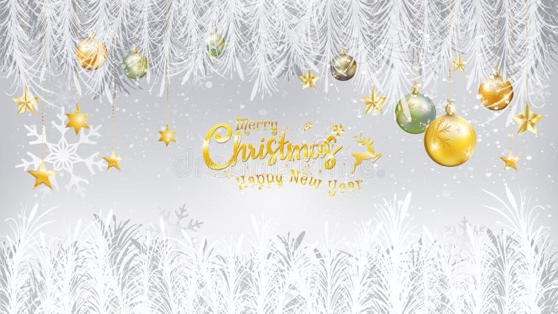 Feliz Año Nuevo y oro de la Feliz Navidad caligráficos con el árbol f ilustración del vector