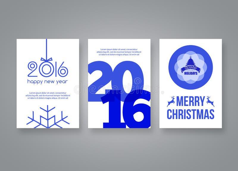 Feliz Año Nuevo 2016 y plantilla moderna azul del diseño del folleto del vector de la Feliz Navidad con números Sistema de la pos libre illustration