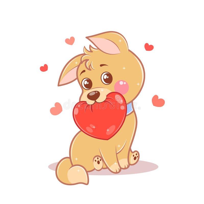 Feliz amante, o filhote valentino, com um coração vermelho isolado em fundo branco ilustração royalty free