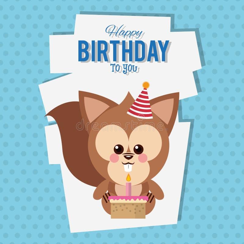 Feliz aniversário desenhos animados do esquilo ilustração stock