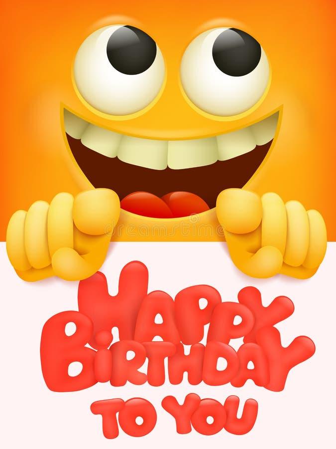 Feliz aniversário projeto da bandeira do vetor com personagem de banda desenhada engraçado do emoji do smiley ilustração royalty free