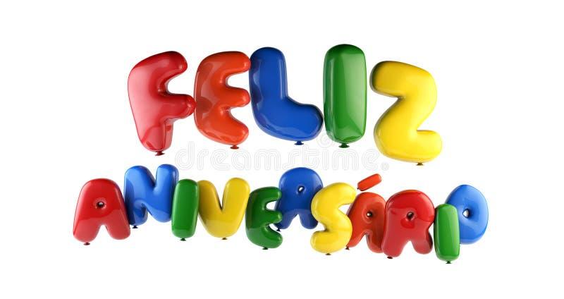 Feliz Aniversario葡萄牙生日快乐-字体轻快优雅 向量例证