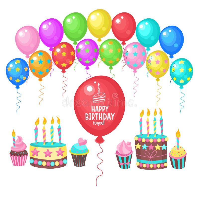 Feliz aniversario ano novo feliz 2007 Muitos balões coloridos, bolos de aniversário com velas ilustração stock