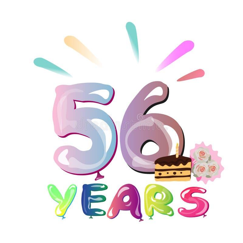 Feliz aniversario 56 anos ilustração stock