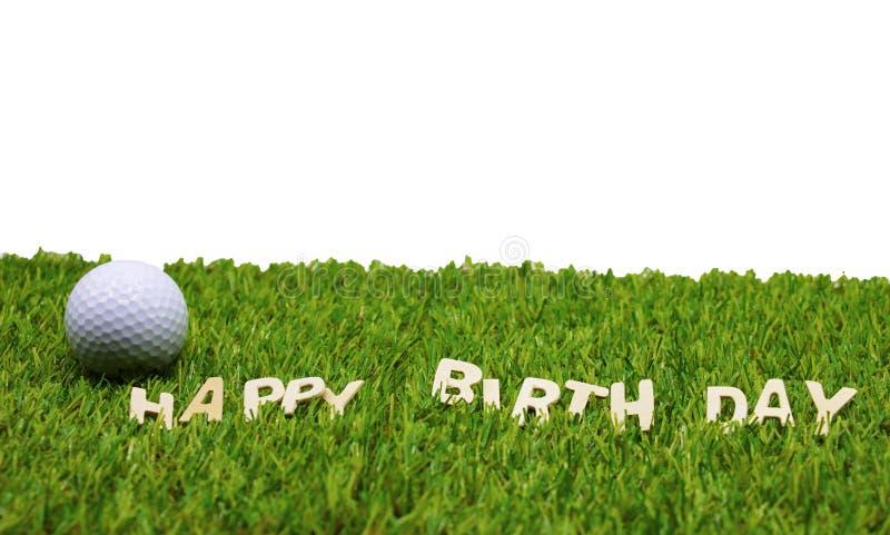 Feliz aniversario ao jogador de golfe foto de stock