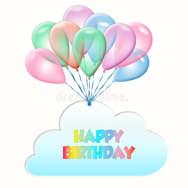 Feliz aniversario Bal?es de voo com nuvem ilustração royalty free