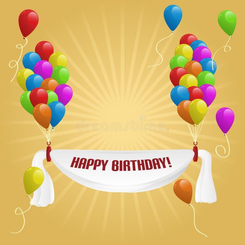 Feliz aniversario. Bandeira com balões ilustração royalty free